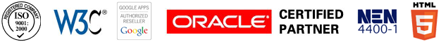 iso 9001, w3c, google apps reseller, oracle, certified partner, nen-4400-1, html5